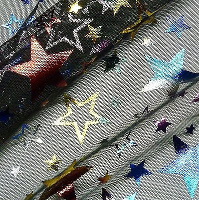 Black Tulle Net with Multicoloured Foil Stars Fabric (Per Metre)