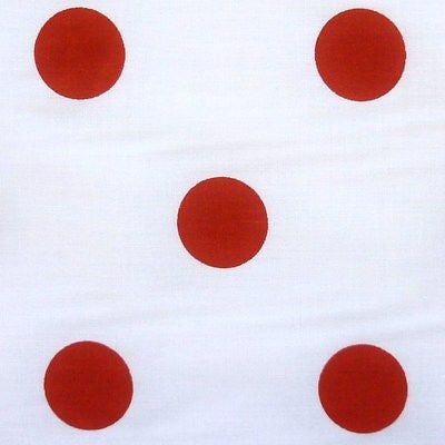 White Polycotton Polycotton Fabric with Large 25mm Red Spot (Per Metre)