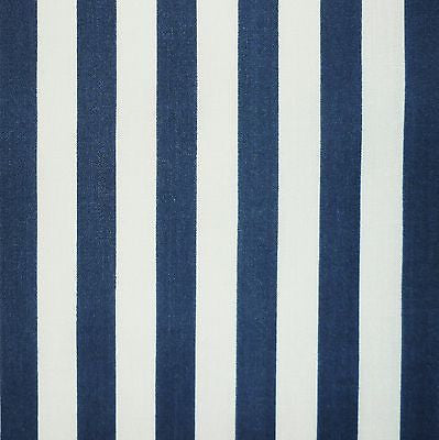Navy Blue & White 11mm Stripe Polycotton Fabric (Per Metre)
