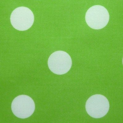 Lime Green Polycotton Fabric with Large 25mm White Spot (Per Metre)
