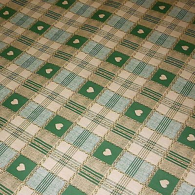 Green & Brown Tartan Heart Print PVC Tablecloth Oilcloth Fabric  (Per Metre)