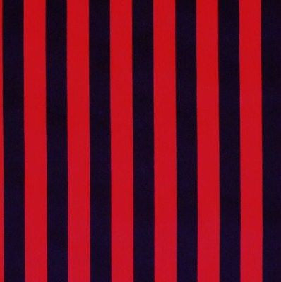 Black & Red Stripe Polycotton Fabric (Per Metre)