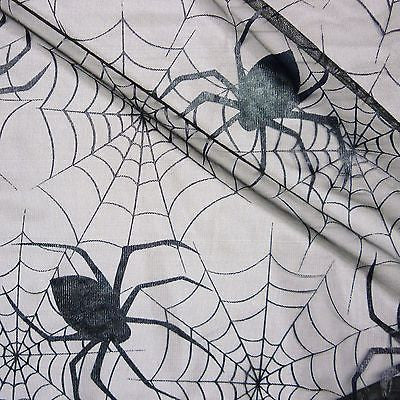 Black Tulle Net Fabric Black Patent Webs & Large Spiders (Per Metre)