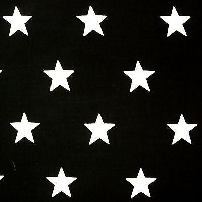 Black 100% Cotton Fabric with White Stars (Per Metre)