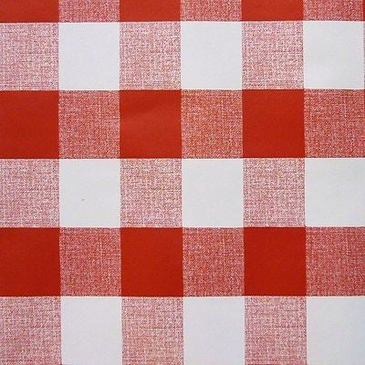 "Red White PVC Tablecloth Oilcloth 1"" Gingham Fabric  (Per Metre)"
