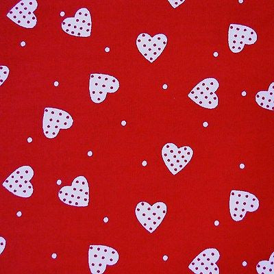 Red 100% Poplin Cotton with White Polka Dots & Hearts Fabric (Per Metre)