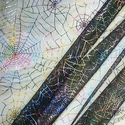 Black Tulle Net with Multicoloured Foil Spiderwebs Fabric (Per Metre)