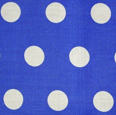 Mid Blue Cotton White Polka Dot Spot Fabric (Per Metre)