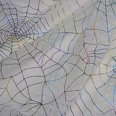 White Tulle Net with Multicoloured Foil Spiderwebs Fabric (Per Metre)