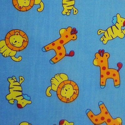 Blue Polycotton Fabric with Baby Zoo Safari Animals (Per Metre)