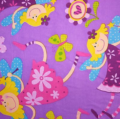 Purple 100% Cotton Fabric with Large Fairies, Butterflies & Hearts (Per Metre)