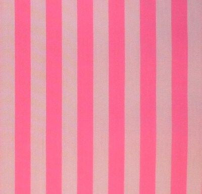 White & Bright Candy Pink Stripe Cotton Fabric (Per Metre)