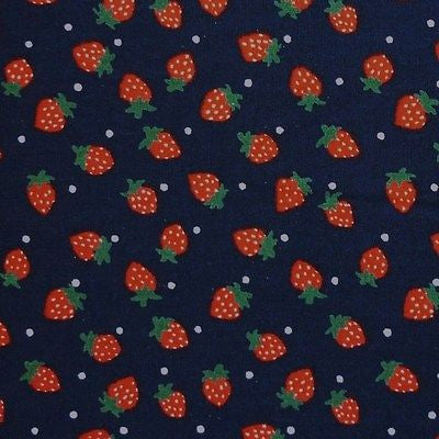Navy Blue 100% Cotton Red Strawberries Polka Dot Fabric (Per Metre)