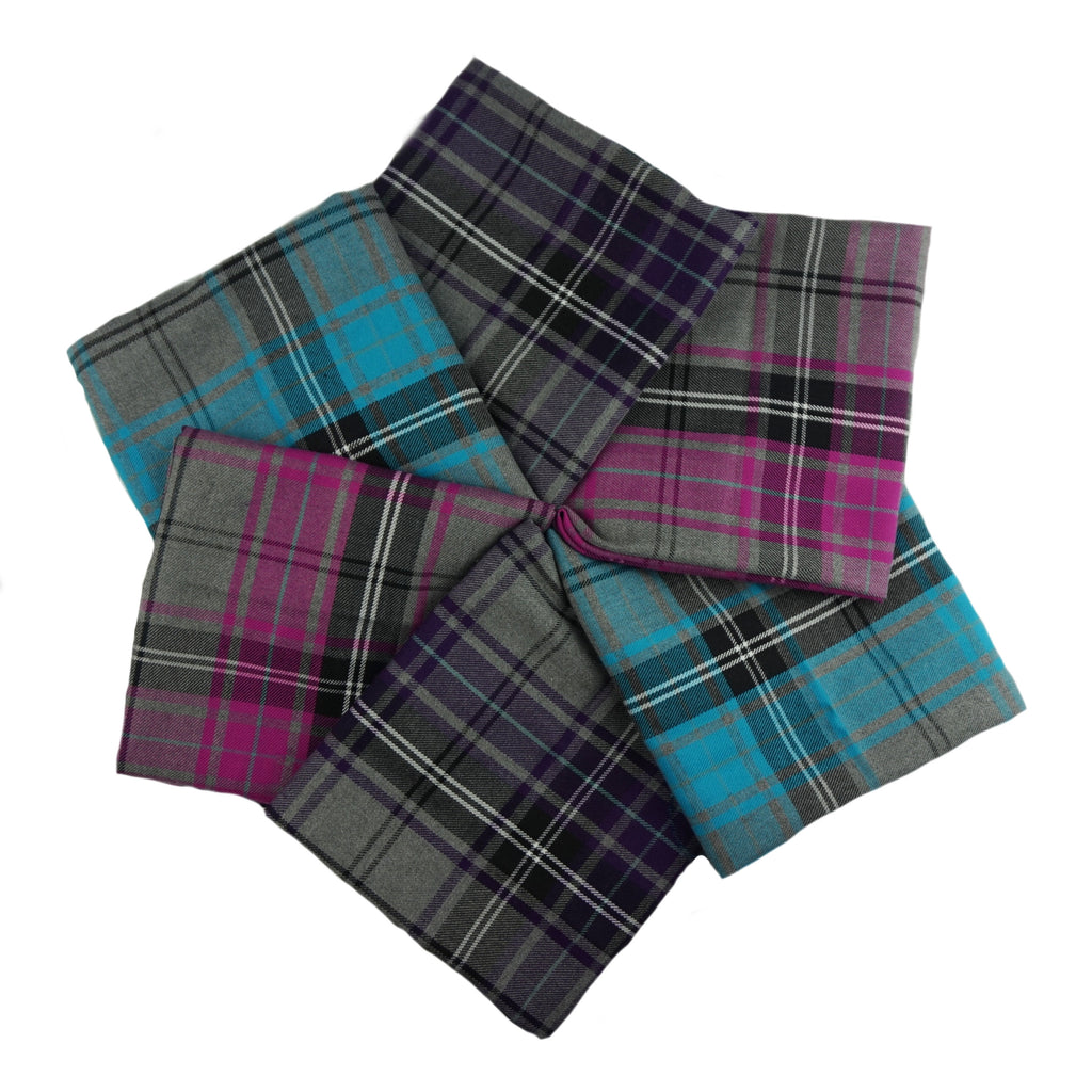 Poly Viscose Tartan Fabric Fat Quarter Bundle - Design 1