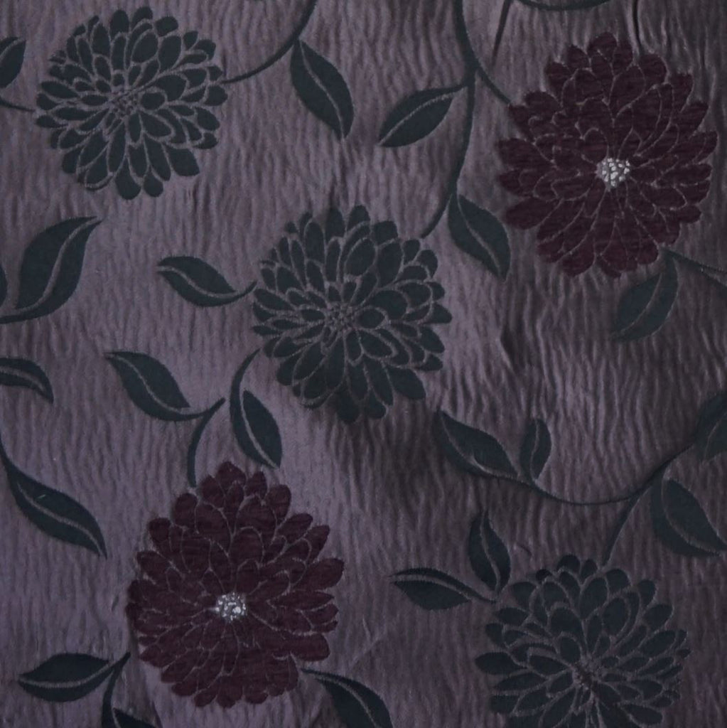 Jacquard Satin Curtain Fabric with Madrid Flower Design - Various Colours (Per Metre)