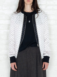 """The Classic Bomber"" in White and Black Print"
