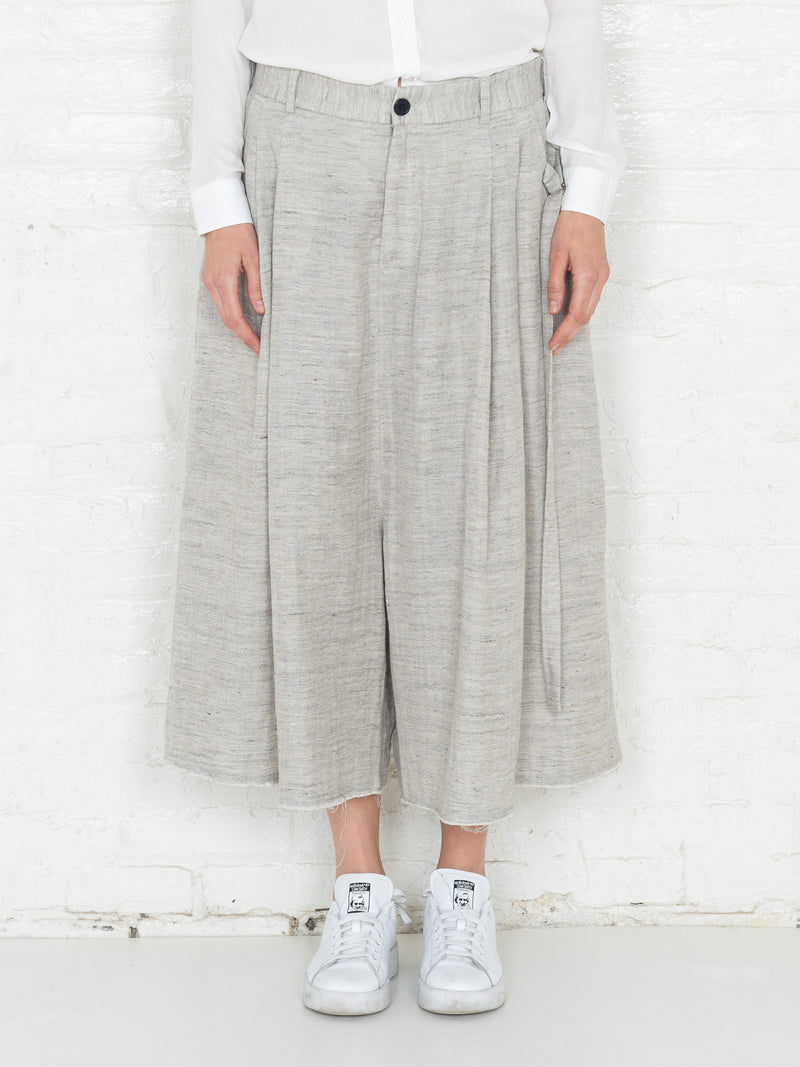 """The Skirt Pant"" in Light Beige Linen"