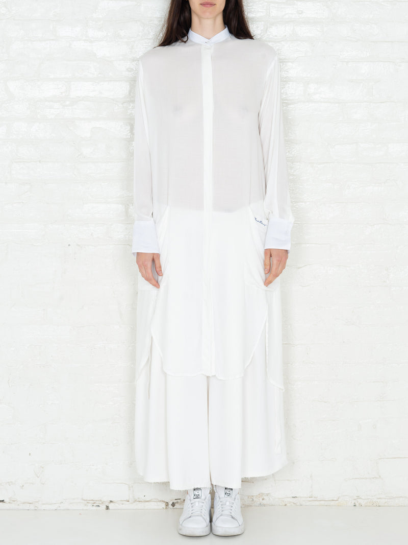 """The Essential"" Long Tunic Shirt in White"