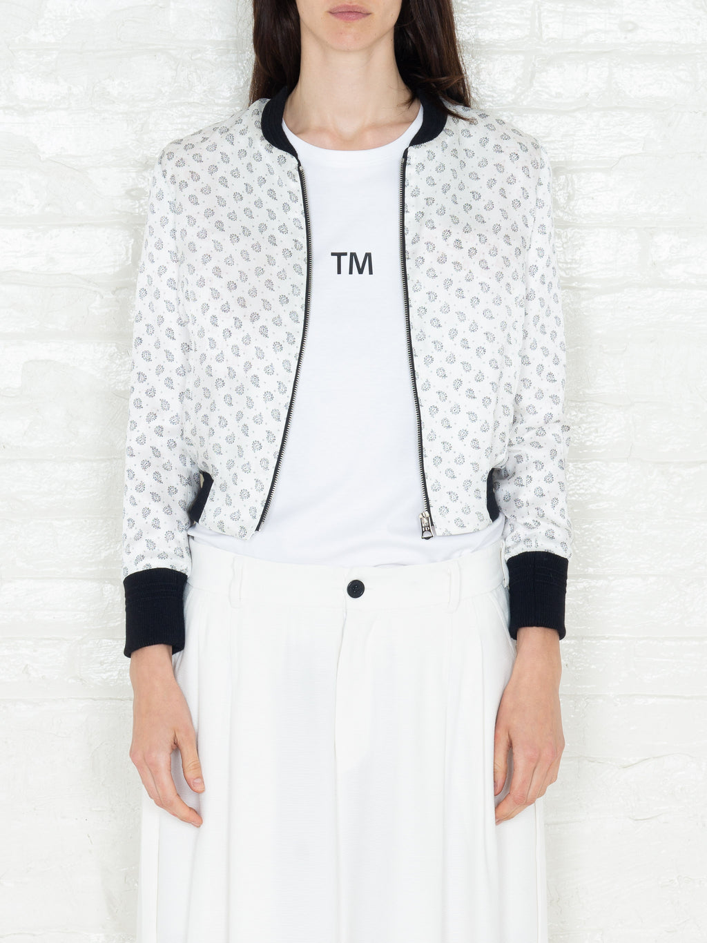 """The Classic Bomber"" 3/4 in White & Black Print"