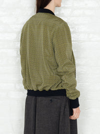 """The Classic Bomber"" in a Green Patterned Print"