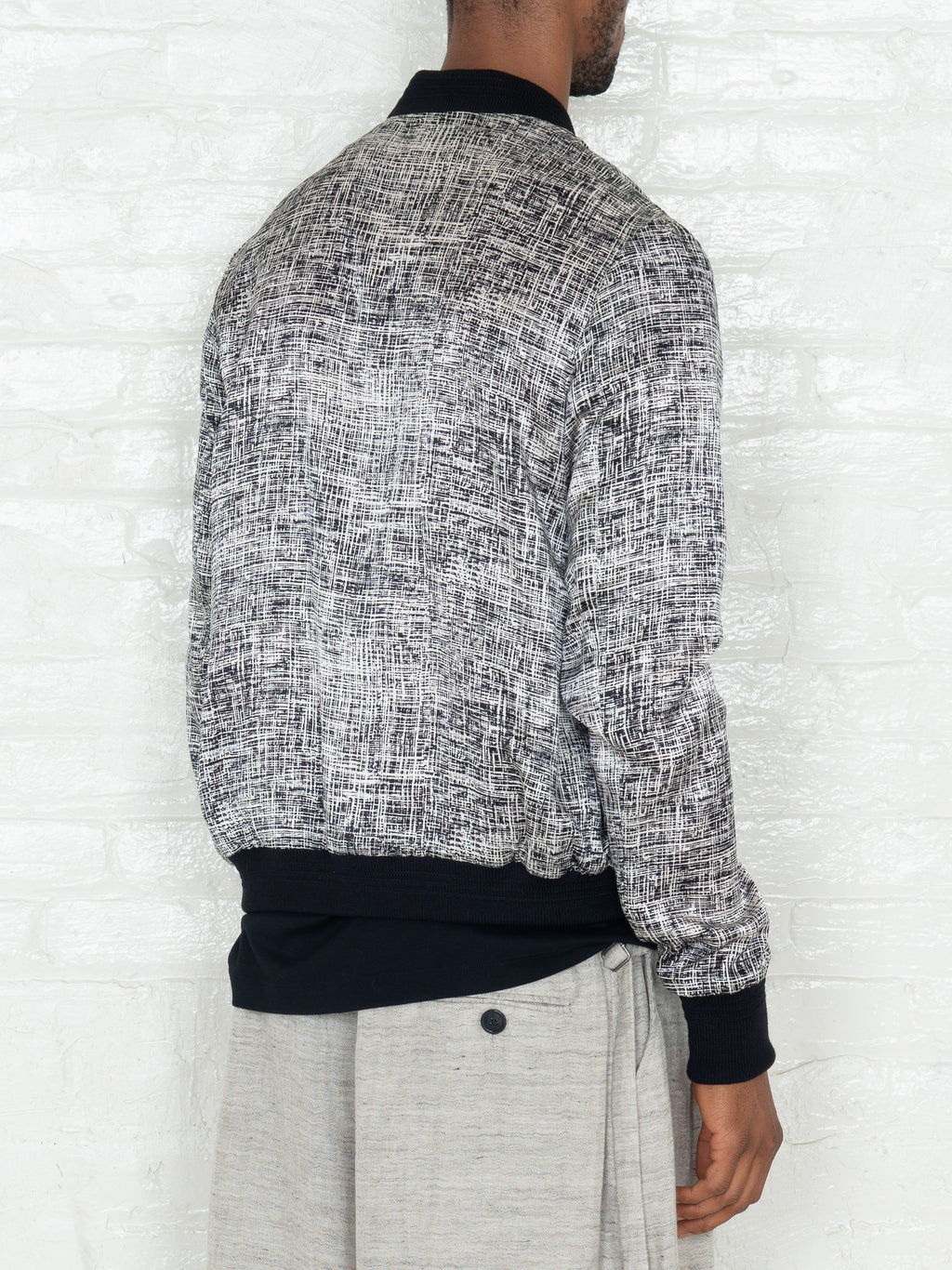 """The Classic Bomber"" in Light Grey Print"