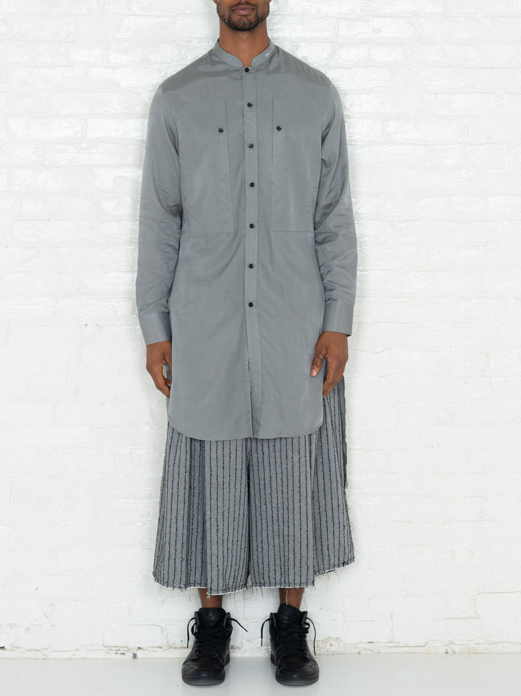 """The Essential"" Long Tunic Shirt in Grey"