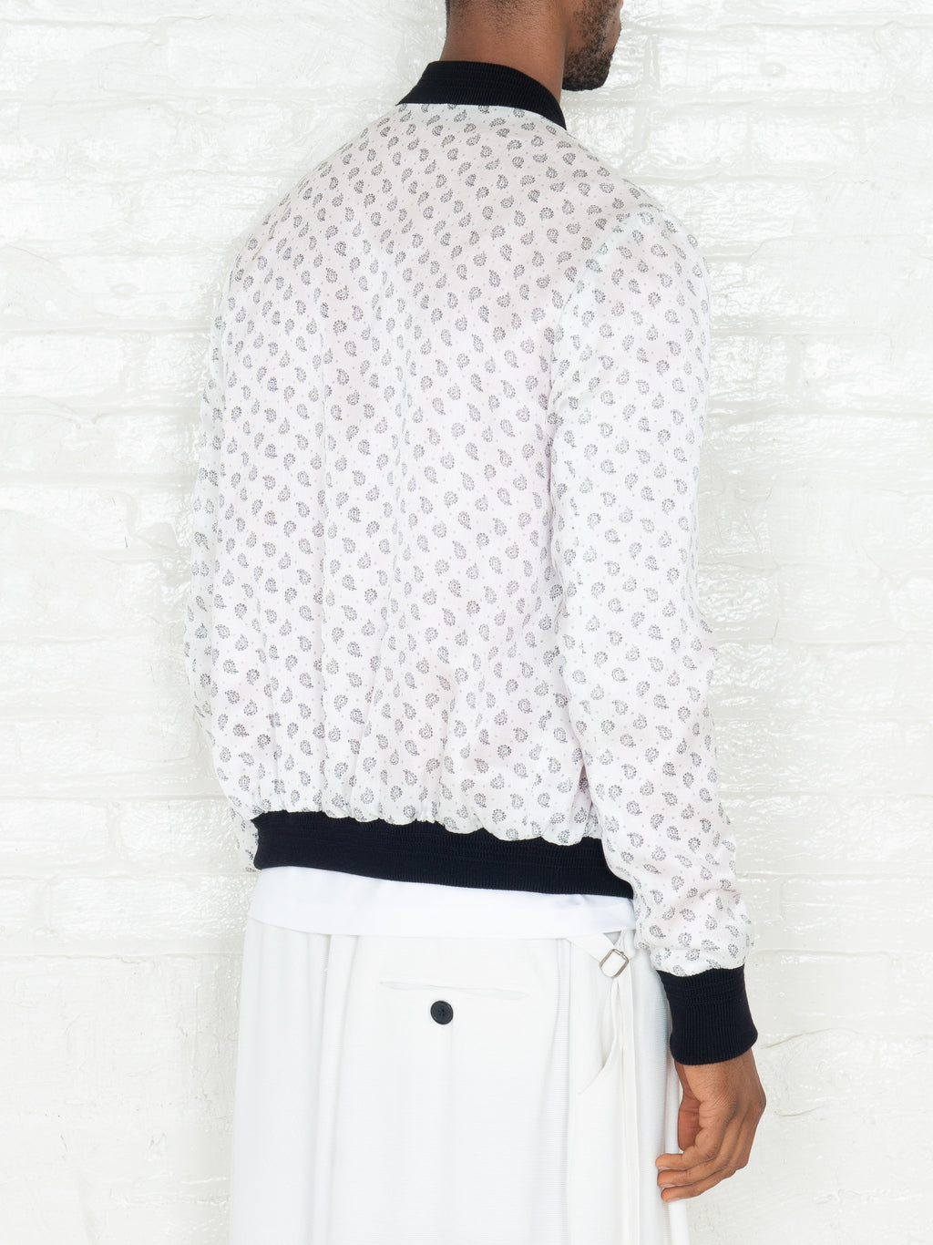 """The Classic Bomber"" in White & Black Print"