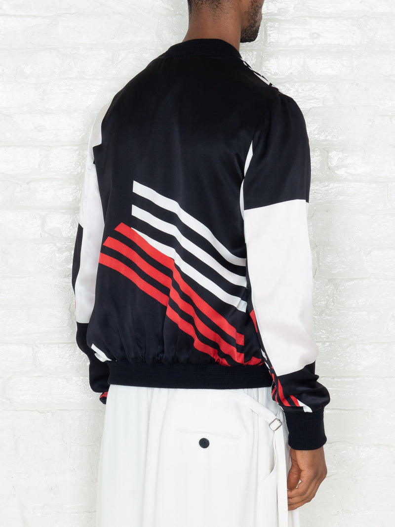 """The Classic Bomber"" in Red Black & White Print"