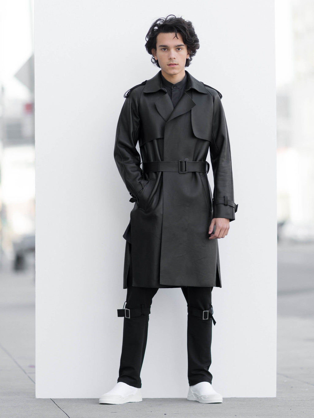 Matrix Black Leather Trench Coat