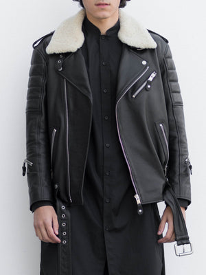 Leather Biker Jacket With Detachable Shearling Collar