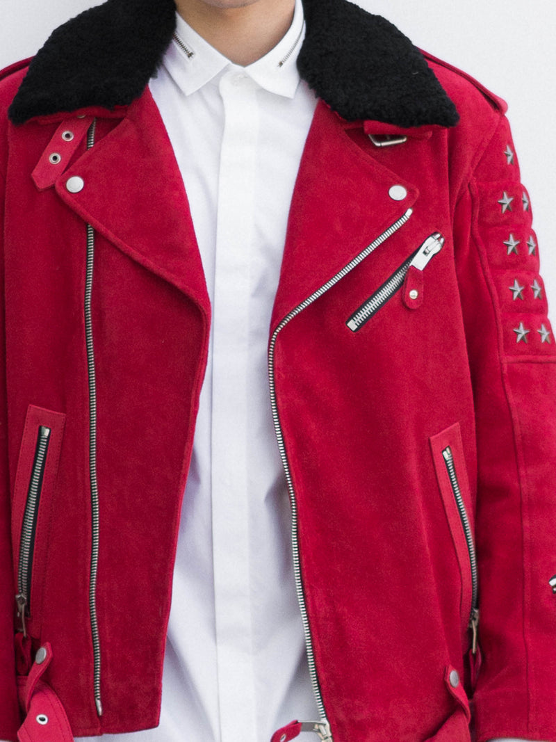 Red Suede Biker Jacket with Detachable Black Shearling Collar
