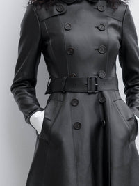 Matrix Black Leather Double-Breasted Coat
