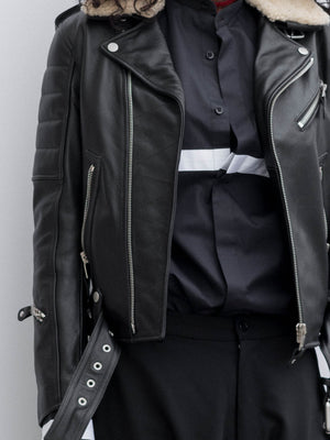 Leather Biker Jacket With Shearling Collar