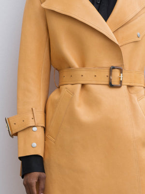 Matrix Yellow Leather Trench Coat With Pocket