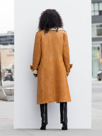Shearling-Lined Camel Leather Coat