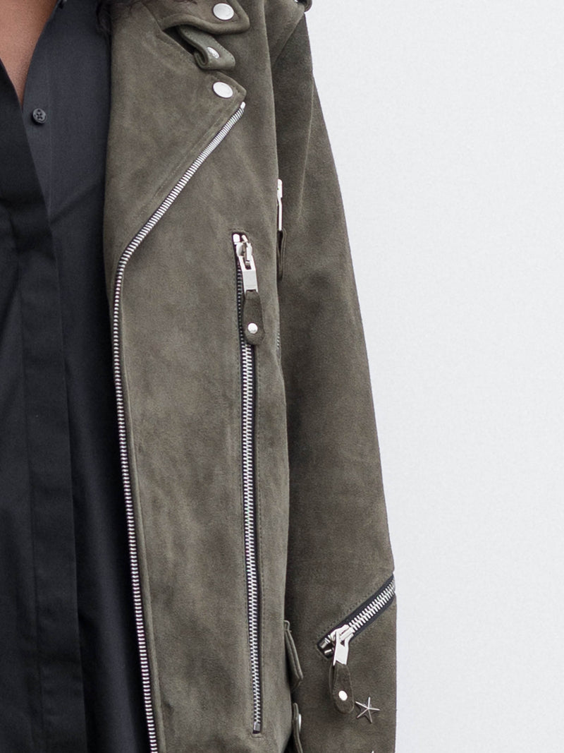 Army Green Suede Biker Jacket
