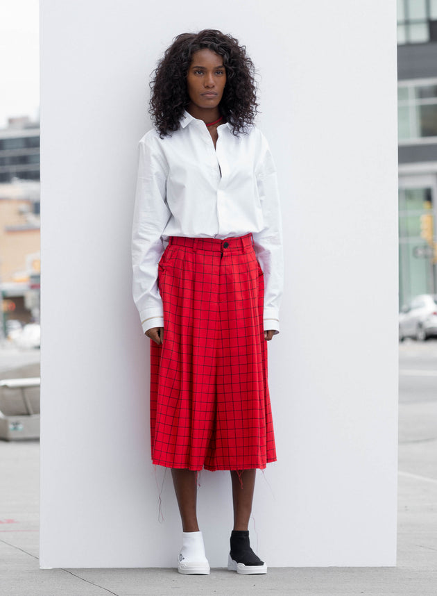 Red Skirt Pants With Black Squares