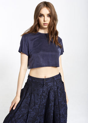 Blue Cupro Crop Top