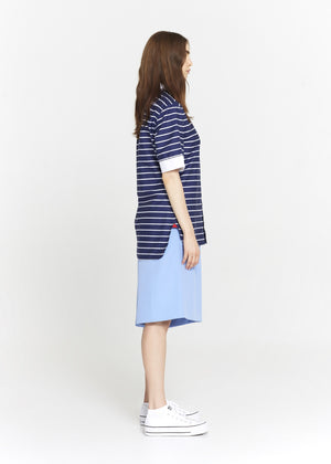 Short Sleeve Blue & White Striped Cotton Tunic