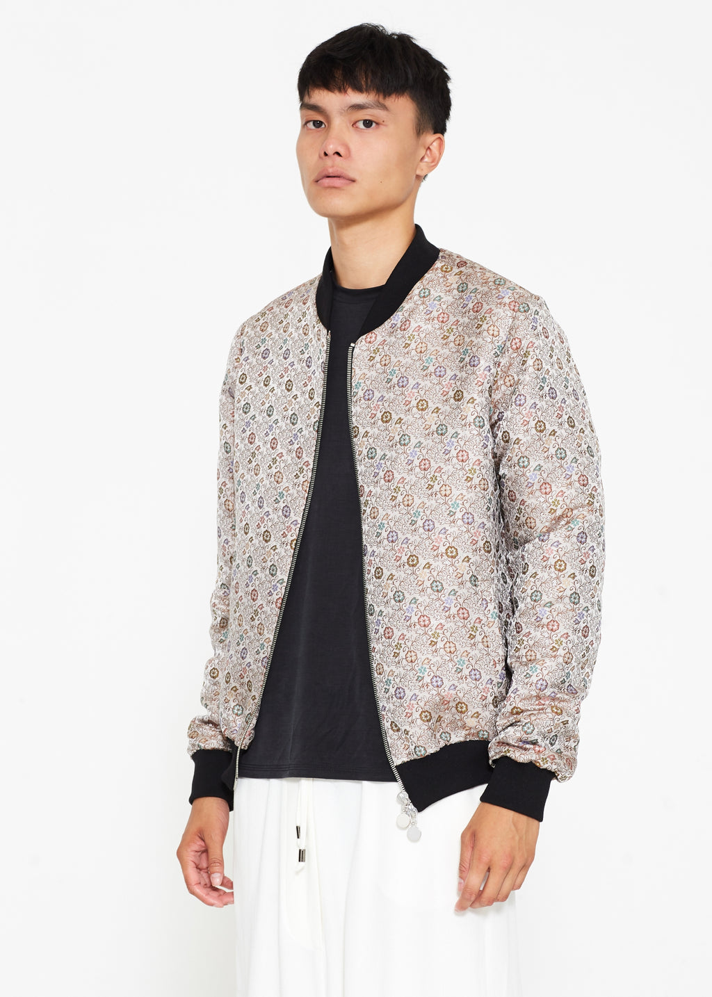 """The Limited Edition Crepe Bomber"" in Silver Floral"