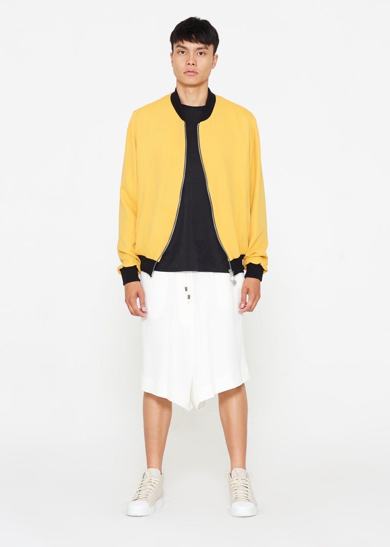 """The Limited Edition Crepe Bomber"" in Sunset Yellow"