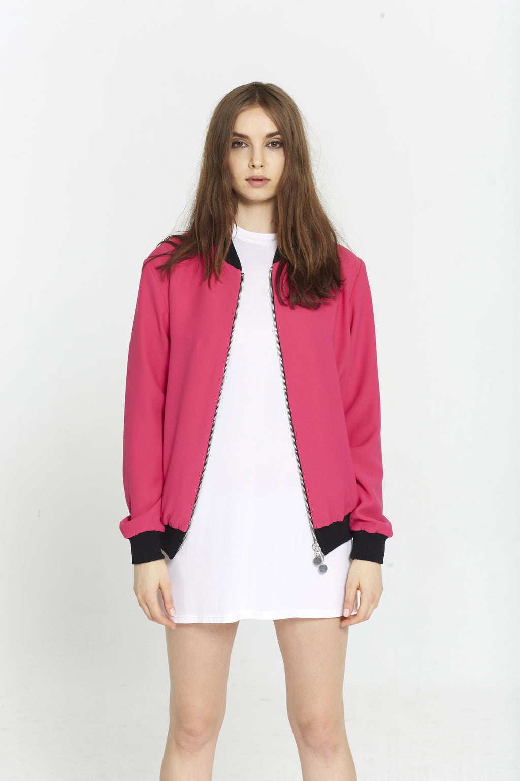 """The Limited Edition Crepe Bomber"" in Hot Pink"