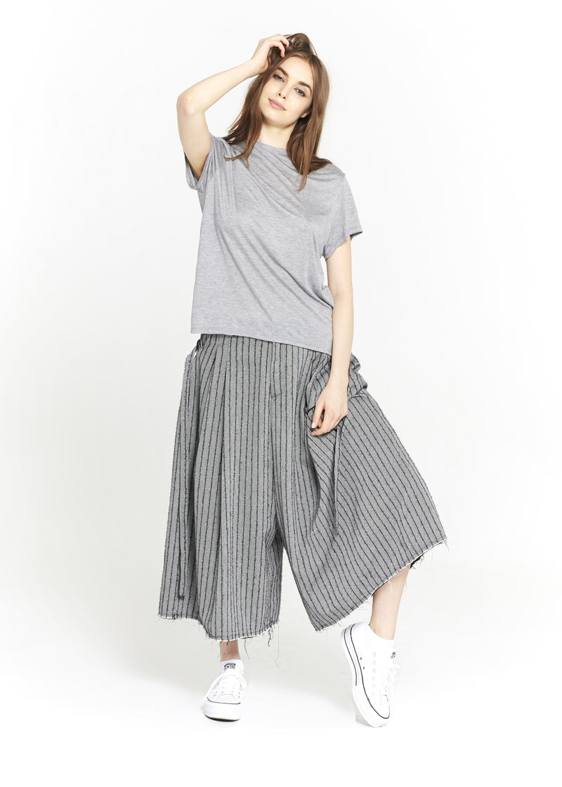 """The Skirt Pant"" in Grey and Black Stripes"