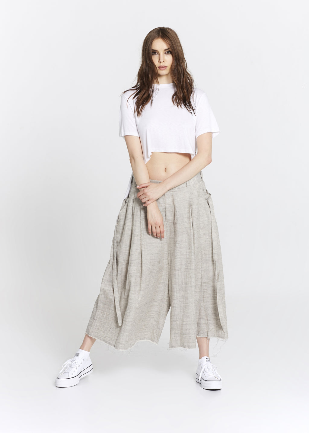 """The Skirt Pant"" in Beige Linen"
