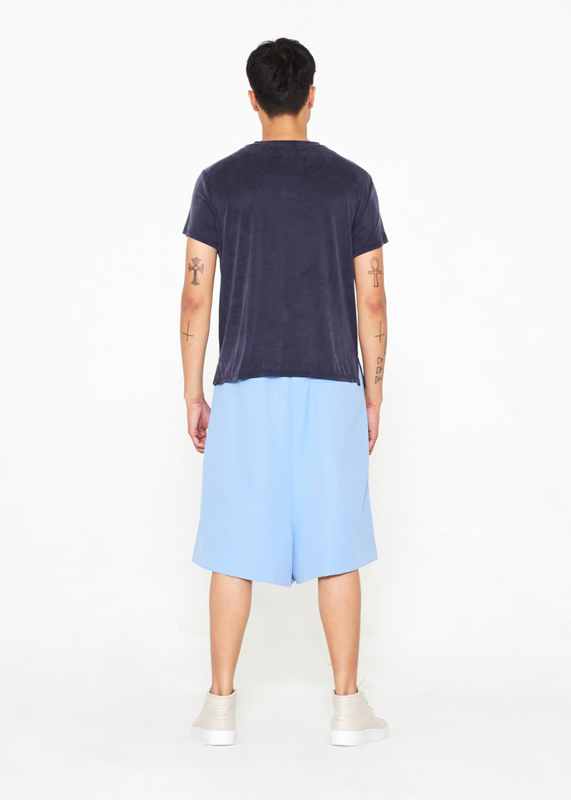 """The Limited Edition"" Crepe Silk Shorts in Light Blue"