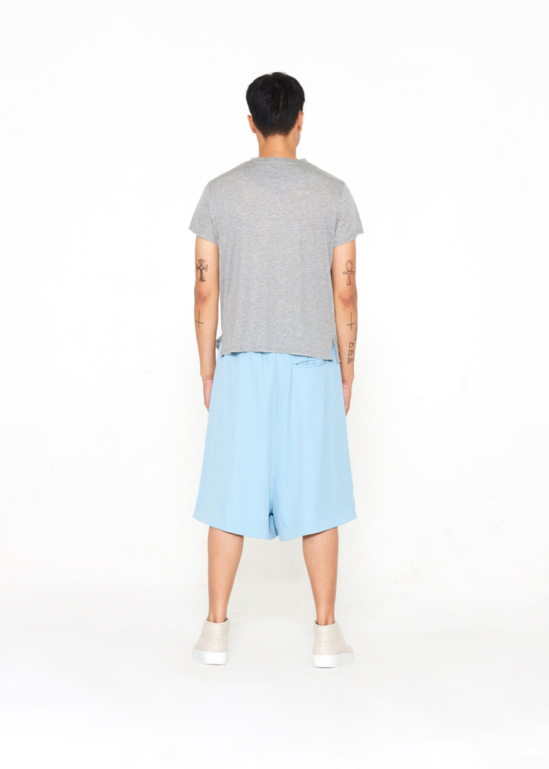 """The Limited Edition Crepe Silk Shorts"" in Iced Aqua"