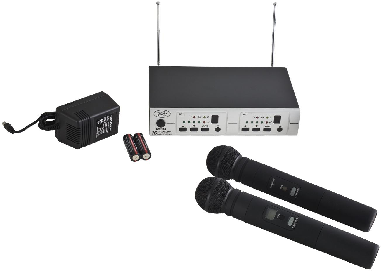 Peavey PV® 16 Dual-Receiver wireless mic system-HH/HH - Audio Leaders