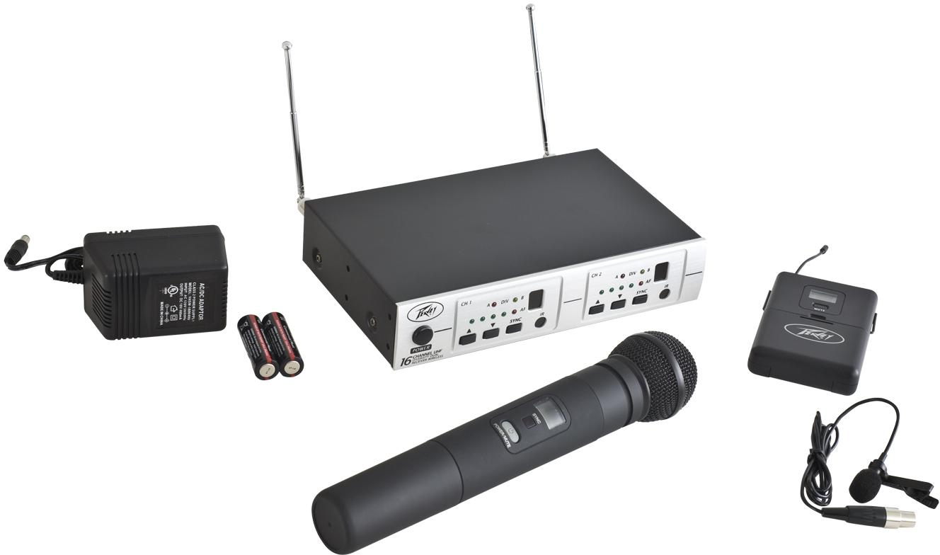 Peavey PV® 16 Dual-Receiver wireless mic system-HH/BL - Audio Leaders