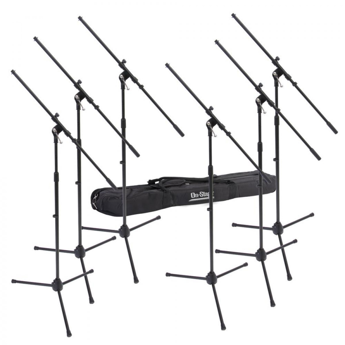 On-Stage 6 Euroboom Mic Stands w/ Bag