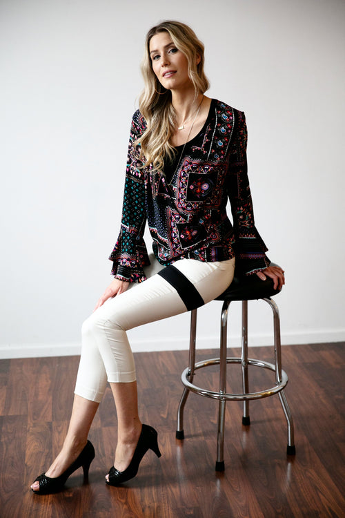 Abstract Faux Wrap Top